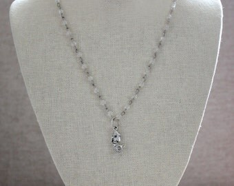 Clear Vintage Rosary Chain with Silver Mermaid Pendant