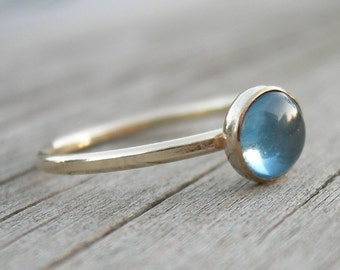 Swiss Blue Topaz Ring Gold Band Stacking Ring December Birthstone