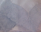 Embroidered Linen and Net Lace Hanky, Something Blue Wedding - Vintage Hanky