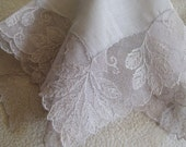 Silver Linen and Net Lace Hanky, Leaf Detail,  Bridal Party Accessories - Vintage Hanky