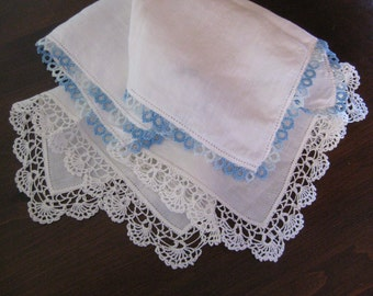 Embroidered Vintage Hanky and Cotton Hanky with Tatting ~ Something Blue Wedding