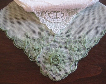 Linen and Lace Green Hanky, Cotton Floral Embroidery White  - lot of 2 - Vintage Hankies