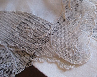 Silver Linen and Net Lace Hanky, Floral Detail,  Bridal Party Accessories - Vintage Hanky