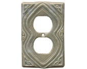 Moroccan Ceramic Duplex Outlet Cover Plate in Oyster Glaze