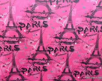 Paris Fabric By Yard, Half Yard, Quarter Yard Fat Quarter France Hot Pink and Black Fabric Cotton Quilting Fabric fa2/6