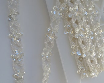 Iridescent Beaded Trim by the 1/2 Yard, Shiny Trim, Clear Iridescent Sequins and Beads Floral Trim