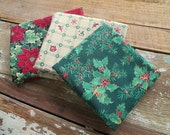 Christmas Trio of 1/2 Yard Cotton Quilt Fabrics - Vintage and Out of Print