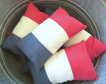 FLASH SALE -- Petite Pillow - French Flag - Lavender Infused Scented Sachet Small Pillow - French Country