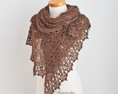 Lace knitted shawl, brown, N368