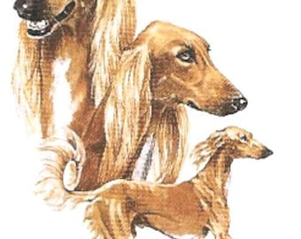 SALUKI Multi Dogs - Twelve Identical 6 inch Fabric Squares for Quilting and Sewing