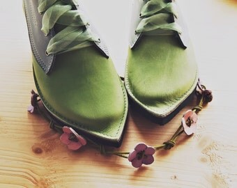 UK 5, Woodland fairy tale leather boots, MUSTARDSEED pimpernel 3153 spring green, thunder, powder blue