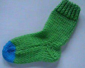 Childrens Hand Knit  Socks   Lime and Turquoise Ages 4-5 Years