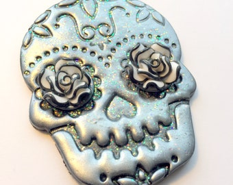 Silver, Black, and White Sugar Skull and Roses Day of the Dead Ornament or Decoration