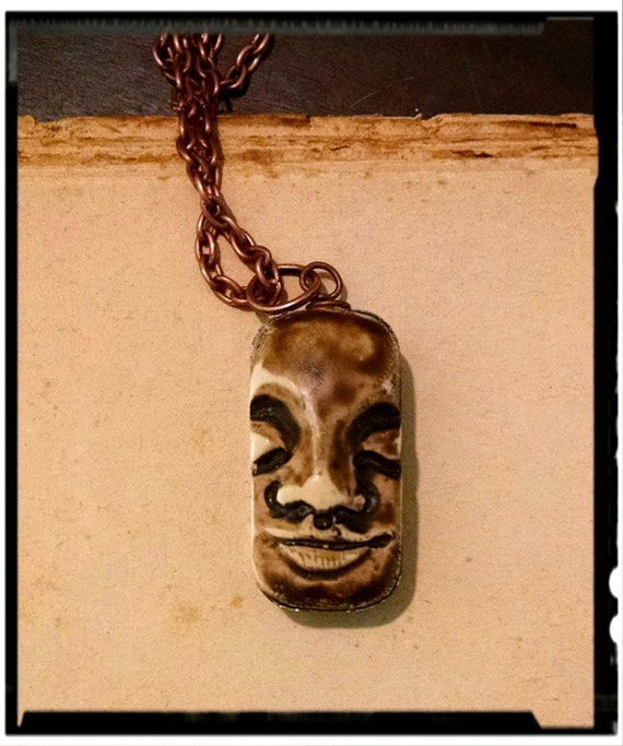 Tranquil Dreams, Polymer Clay face pendant