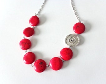 Red chunky necklace, gem necklace