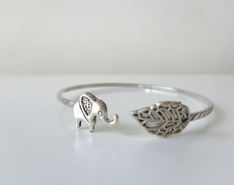 Elephant bracelet wrap style with a leaf