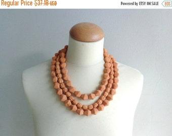 Orange statement necklace, chunky necklace multistrand