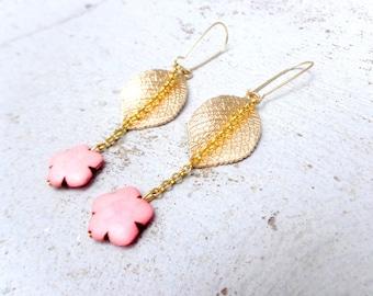 Leaf Gold pastel pink flower earrings elegant earrings