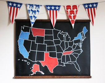 2016 Election Kit with US Chalkboard Map // Presidential // Political // Election 2016 // Decoration