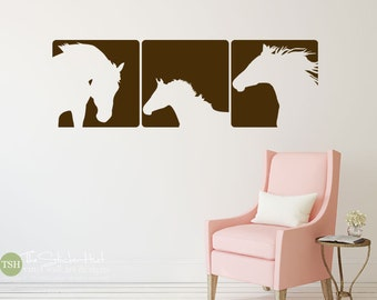 Horse Panels - Western Decor - Vinyl Wall Lettering - Home Decor - Bedroom Decor - Removable - Vinyl Wall Art Graphics Decals Stickers 1853