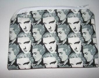Elvis handmade fabric coin change purse zipper pouch