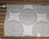 Tan and Brown Circles, Dots Valance - Magnolia Home Fashions Carousel Sand Fabric - Colors include ivory, brown, grey and gold.