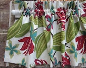 """Floral Valance -50"""" x 16"""" - Colors include grey, white, maize, olive and aqua - Ready to Ship!"""