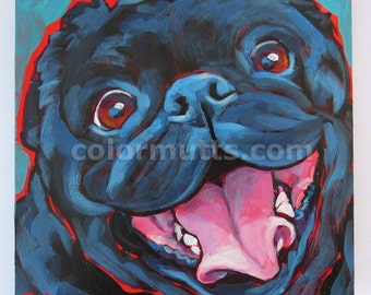 BLACK PUG Dog Original Portrait Art Painting on Panel 6x6 by Lynn Culp