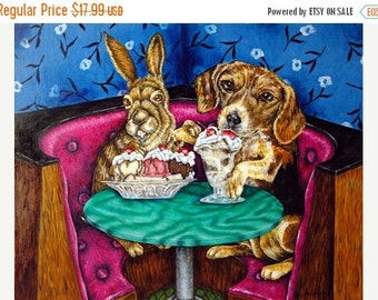 Bunny and Beagle at the Ice Cream parlor Animal Art Print