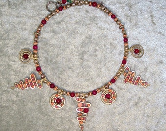 SPIRALS n' SERPENTINES - Necklace in Coral, Malaysian Jade, and Sterling Silver