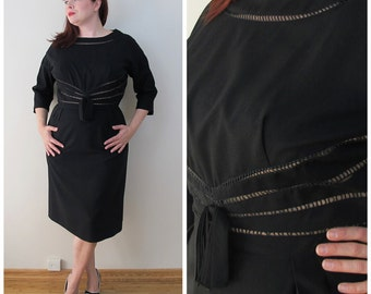 50s Black Nude Illusion 3/4 Sleeve Wiggle Dress, Size Large to XL