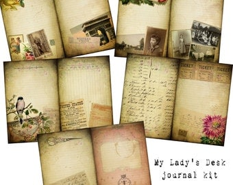 Digital Vintage Journal Page Kit - My Lady's Desk - Perfect for journals, cards, mixed media, scrapbooking (5 digital pages)