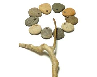 Beach Stone Small Rock Pendants Natural Pebble Lake Set Jewelry Making diy Supplies Artisan Supply Dangles FALL FLOWER