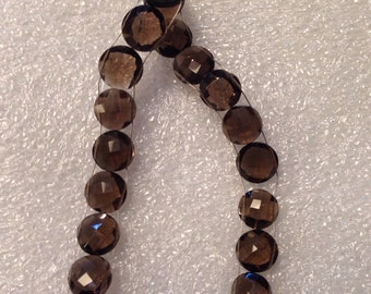 1 Strand of Smoky Quartz Faceted Round Beads 10-11 mm  double drilled - 18 beads