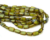 Olive Green and White Swirl 12x8mm Czech Glass Rectangle Beads  10