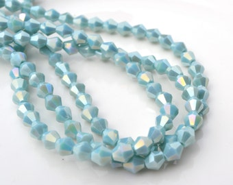 Pale Aqua Blue Luster 10mm Bicone Crystal Beads  20