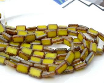 Chartreuse 12x8mm Czech Glass Rectangle Beads  10