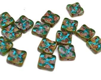 Light Capri Blue 10mm Square Czech Glass Beads  10