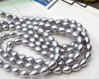 Platinum Silver 10x8mm Glass Teardrop Beads  full 15 inch strand