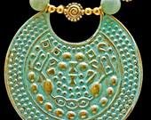 Enamel on Vintage Bronze Gorget & Blue Agates