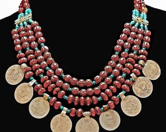 Vintage Nepali Chevron & Coin Necklace - 4 Strands