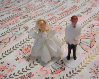 miniature groom and bride cake topper