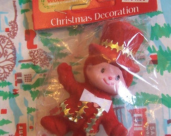 red little flocked boy ornament