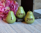 Valentines day gift / green i love you pears...Three handmade decorative clay pears ... 3 Word text Pears