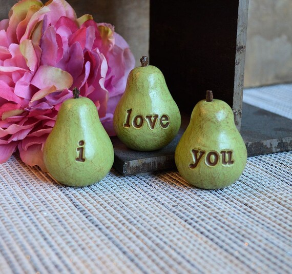 Love gifts // green i love you pears // Three handmade decorative clay pears // 3 Word text Pears