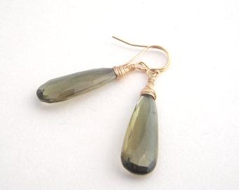 Smokey Quartz Dangle Earrings, Teardrops, Olive Green, Gold, Modern, Classic,