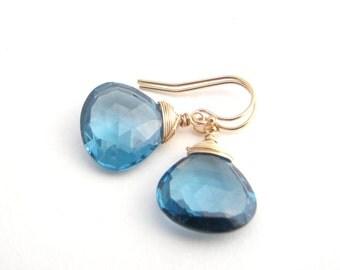 London Blue Topaz Dangle Earrings, Teardrops, Gold, Classic, Royal Blue