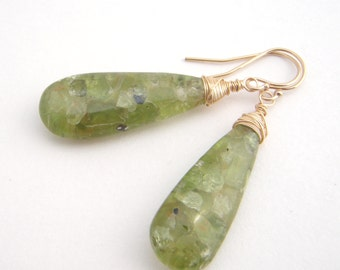 Peridot Teardrop Earrings, Gold, Apple Green, August Birthstone, Dangle Earrings
