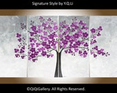 "Modern Wall Art abstract painting white flower painting wall art wall decor Palette Knife impasto canvas art ""Purple Blossom"" by QiQiGallery"