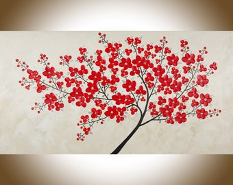 "Modern Abstract painting red flowers tree large wall art shabby chic Oil landscape Painting red flowers Art ""Enthusiasm"" by qiqigallery"
